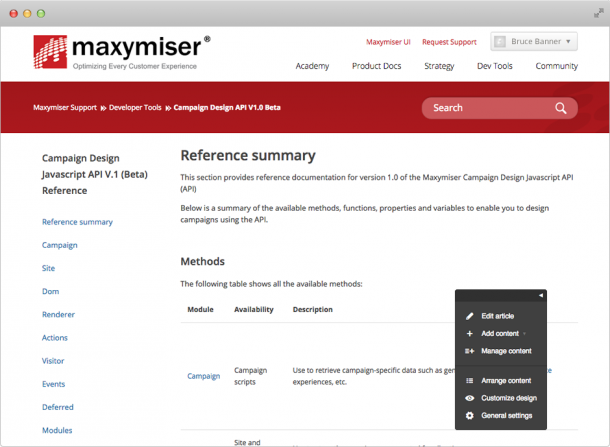 Oracle maxymiser Campaign builder