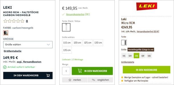 Screenshot von 3 Buyboxen mit identischem Preis