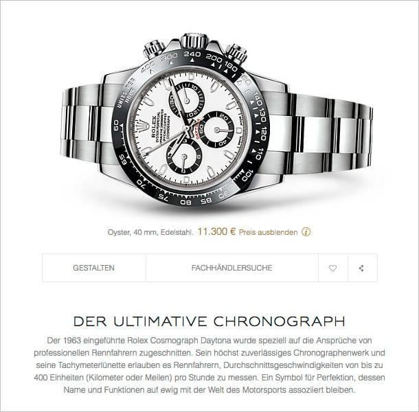 Darstellung einer Rolex Daytona Uhr