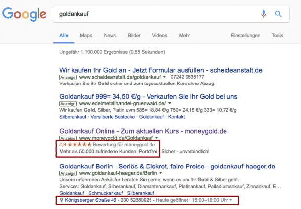 Google Treffer Goldankauf