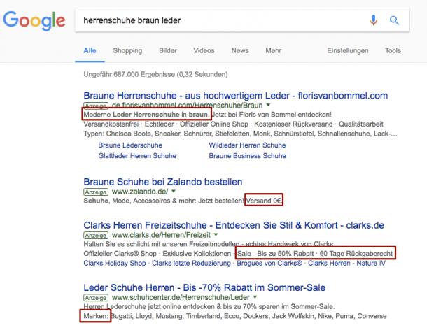 """Google Treffer """"herrenschuhe braun leder"""""""