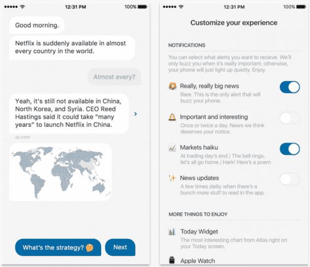 Quartz Nachrichten App mit Bot