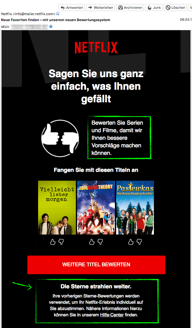 """cb926e850e Netflix stellt den Vorteil für den Kunden selbst in den Vordergrund (""""Wenn  du bewertest, bekommst du bessere Empfehlungen…"""")."""