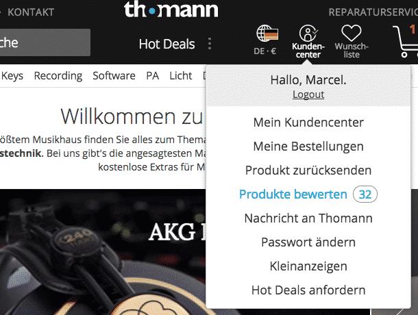 """122e3a3d0a Thomann macht durch eine Notification deutlich, dass es noch zu bewertende  Produkte gibt. Die Zahl (32) animiert dazu, die Arbeit """"zu erledigen""""."""