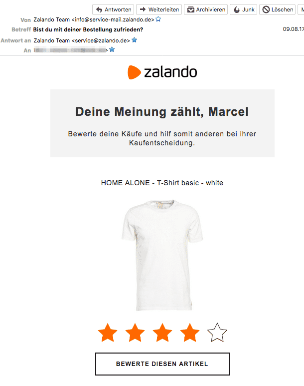 916193995a Zalando bittet ein paar Tage nach der Bestellung per Mail im eine  Bewertung. Besonders komfortabel: ich kann die Sterne schon in der E-Mail  anklicken.