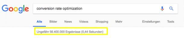Conversion Rate Optimization: Mit über 56 Millionen Einträgen kein Nischenthema mehr.