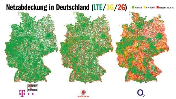 Netzabdeckung in Deutschland LTE - 3G - 2G im Vergleich