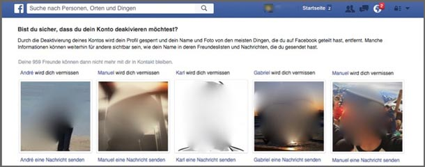 Status Quo Bias: Abmeldung bei Facebook.