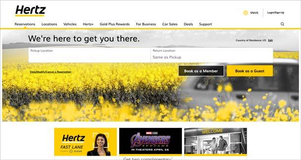 Hertz verklagt Accenture: US-Website 2019 nach Relaunch