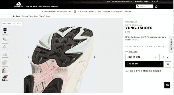 Reduzierung der Risikowahrnehmung: Produktdetailseite von Adidas mit einem Laufschuh
