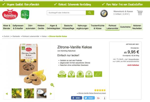 Klare Aussagen zur Risikominimierung: Keimling Kekse, die als vegan und glutenfrei gekennzeichnet werden