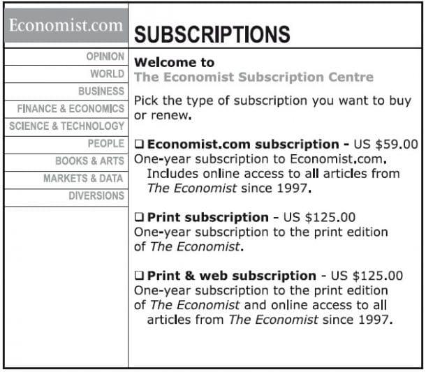 The Economist: Beispiel von Dan Ariely zur Dominanzwirkung