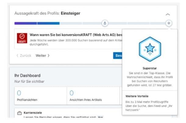 Unlocking für angemeldete Nutzer bei Linked In in Form zusätzlicher Daten