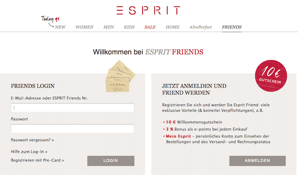 Unlocking mit Reason Why bei Esprit