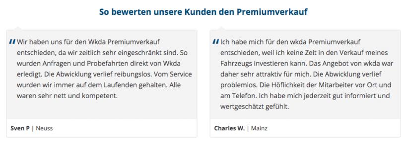 Testimonials oder Kundenstimmen erzeugen mehr Vertrauen bei anderen Nutzern