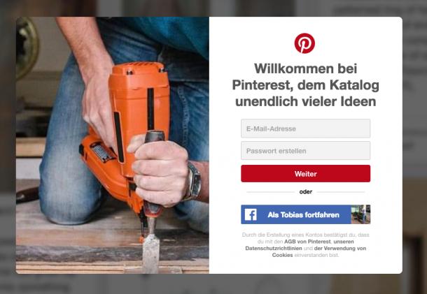 Unlocking bei Pinterest, erst anmelden um Features freizuschalten