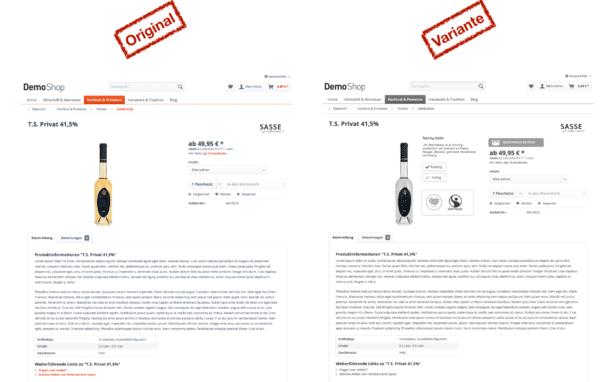 Ansicht einer Produktdetailseite im Vorher-Nachher-Vergleich, Behavior Patterns