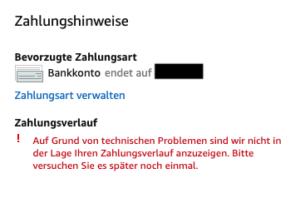 Amazon Prime Zahlungsverlauf