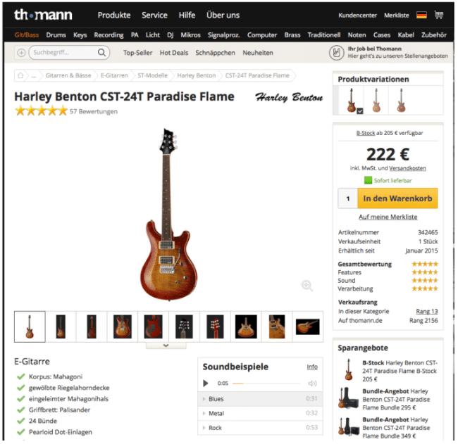 7 Ebenen Modell: Beispiel Prdoduktdetailseite von Musikhandel Thomann