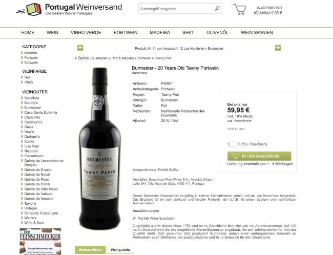 Produktdetailseite E-Commerce am Beispiel Weinhandel mit 7 Ebenen Modell