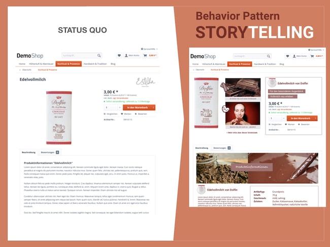 Vorher und Nachhervergleich nach Optimierung mit Behavior Pattern Storytelling