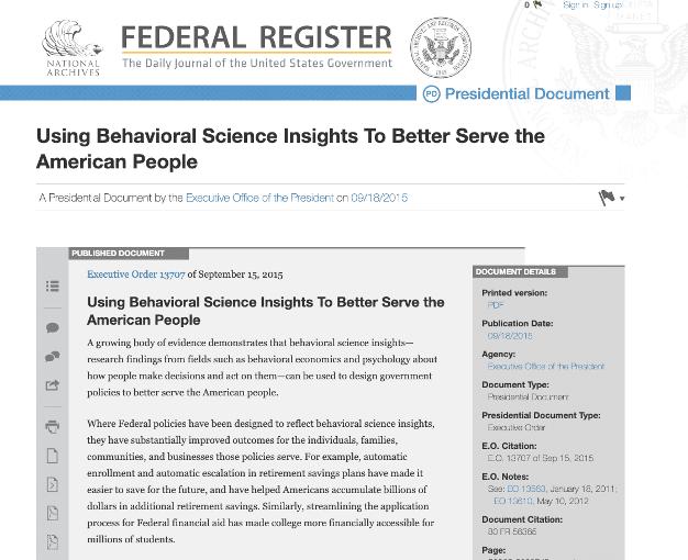 Federal Register nutzt Behavioral Science