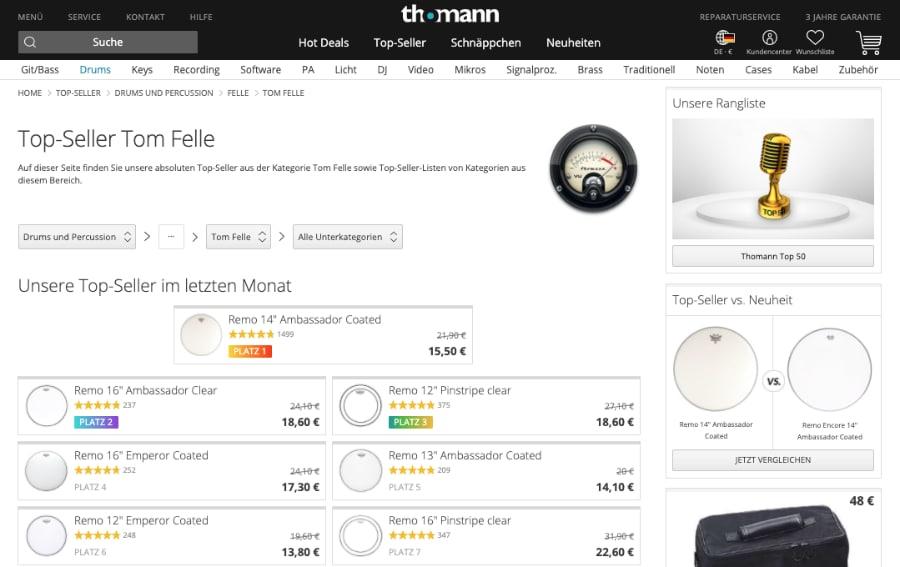 Beispiel Thomann: Visuelle Hervorhebung von Topsellern und beliebten Produkten